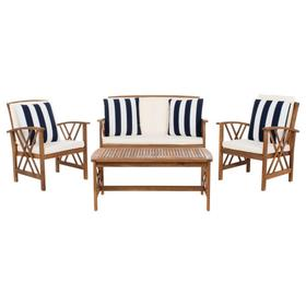 Fontana 4 PC Outdoor Set - Natural / Beige / Black & White