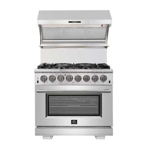 "Capriasca - Titanium Professional 36"" Freestanding 240V Electric Oven Gas Surface Dual Fuel Range"