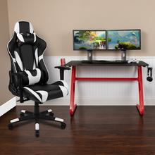 Red Gaming Desk and Black Reclining Gaming Chair Set with Cup Holder and Headphone Hook