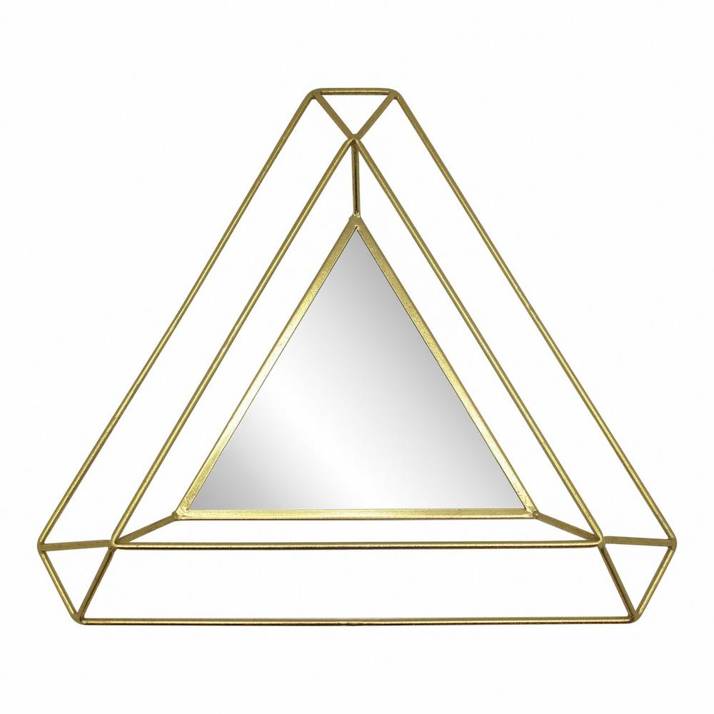 """Metal 34"""" Triangle Mirror, Gold Wb"""