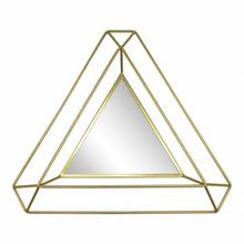 "Metal 34"" Triangle Mirror, Gold Wb"