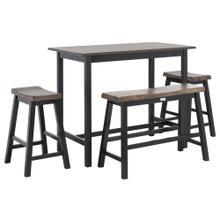 Ronin 4 PC Set Pub Table - Dark Espresso / Black