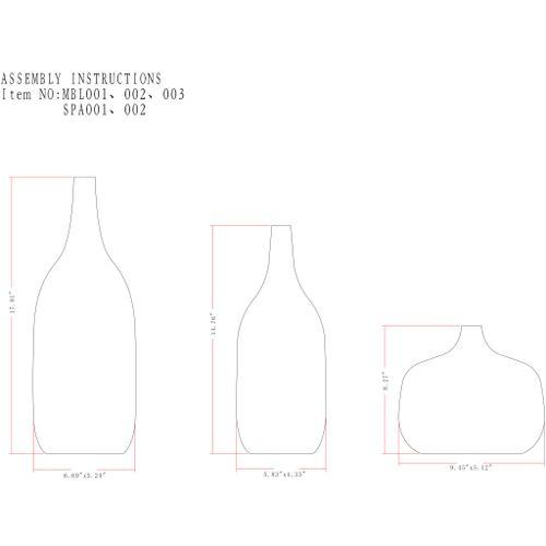 """Marble MBL-003 6.7"""" x 5.25"""" x 18"""",5.85"""" x 4.6"""" x 15"""",9.45"""" x 5.45"""" x 8"""""""