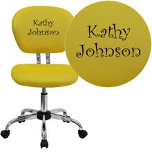 Embroidered Mid-Back Yellow Mesh Swivel Task Chair with Chrome Base