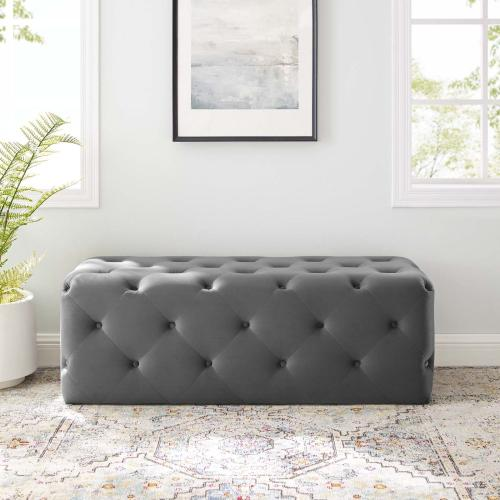 """Amour 48"""" Tufted Button Entryway Performance Velvet Bench in Gray"""