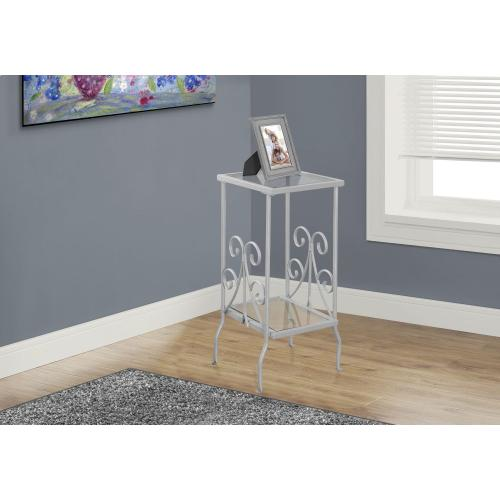"""Gallery - ACCENT TABLE - 30""""H / SILVER METAL WITH TEMPERED GLASS"""