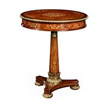Burl & Mother of Pearl Inlaid Round Side Table