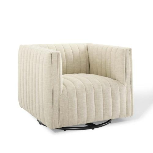 Conjure Tufted Swivel Upholstered Armchair in Beige