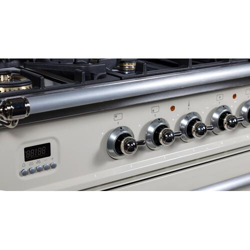 Nostalgie 36 Inch Dual Fuel Liquid Propane Freestanding Range in Antique White with Chrome Trim