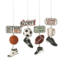 Sport Score Dangle Ornaments (4 asstd)