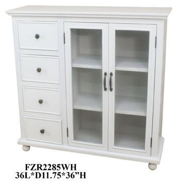 """Crestview Collections - 36x12x36""""H WHITE 4 DRAWER 2 DOOR CABINET,1 PC PK/ 12.8'"""