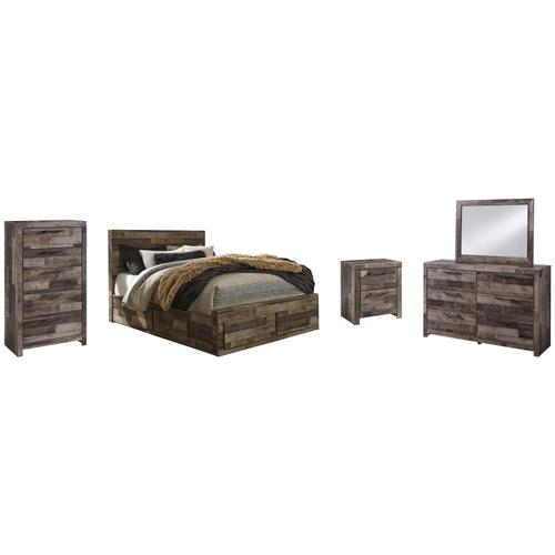 Ashley - Queen Panel Bed With 4 Storage Drawers With Mirrored Dresser, Chest and Nightstand