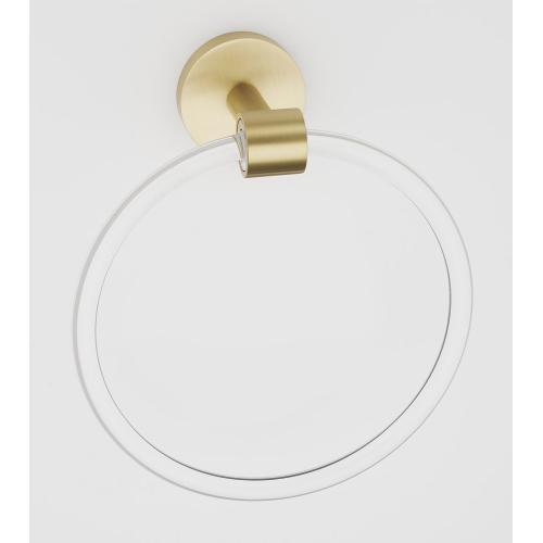 Acrylic Contemporary Towel Ring A7240 - Satin Brass