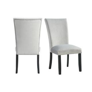 Francesca Gray Velvet Side Chair set