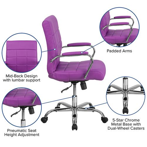 Gallery - Mid-Back Purple Vinyl Executive Swivel Office Chair with Chrome Base and Arms