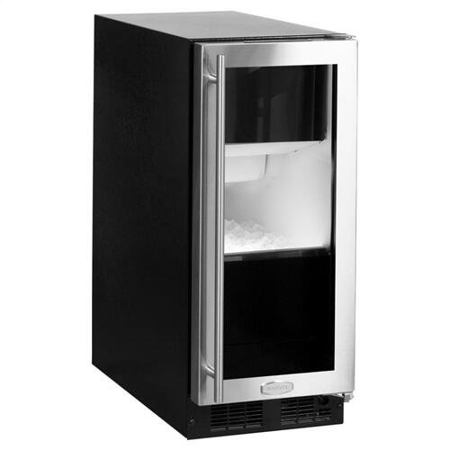 """Marvel - 15"""" Marvel Clear Ice Machine with Arctic Illuminice Lighting and Glass Door - Gravity Drain - Stainless Steel Framed Glass Door, Right Hinge"""