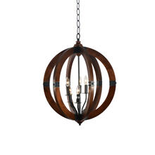 6-Light Orb Chandelier in Mahogany Finish