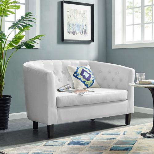 Modway - Prospect Upholstered Vinyl Loveseat in White