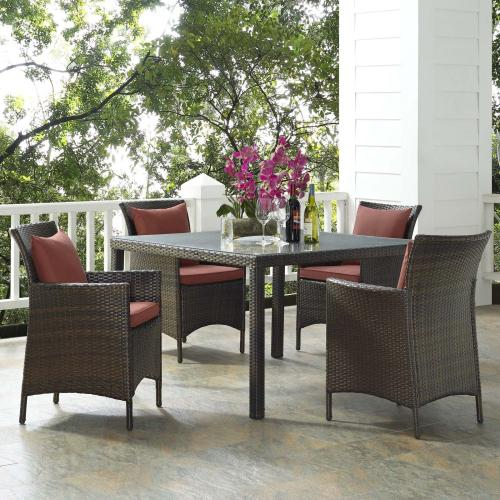 Conduit 5 Piece Outdoor Patio Wicker Rattan Set in Brown Currant