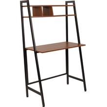 See Details - Wilmette Cherry Wood Grain Finish Computer Desk with Storage Shelf and Black Metal Frame