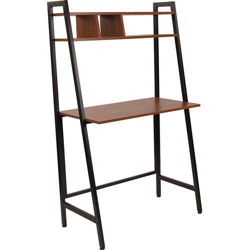 Flash Furniture - Wilmette Cherry Wood Grain Finish Computer Desk with Storage Shelf and Black Metal Frame