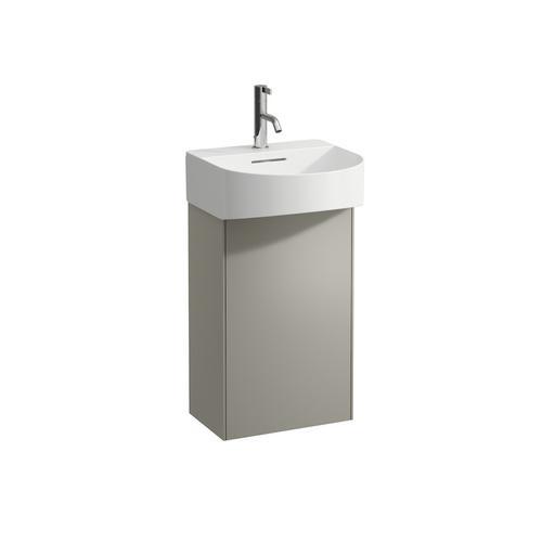 White Matte Vanity unit, 1 door, left hinged, matching small washbasin 815341