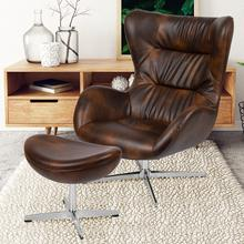 See Details - Bomber Jacket LeatherSoft Swivel Wing Chair and Ottoman Set