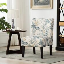 Capa Print Fabric Armless Contemporary Dining Chair, Blue Leaves