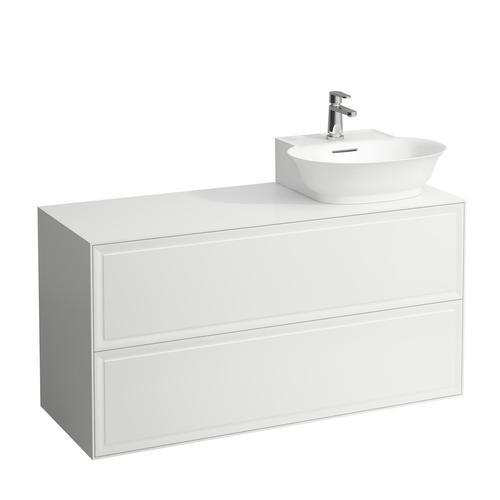 White Matte Drawer element, 2 drawers, cut-out right, matches small washbasin 816852