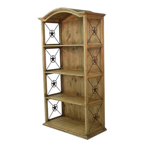 """L.M.T. Rustic and Western Imports - 40"""" Bookcase W/Iron Stars"""