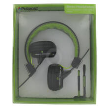 Polaroid Foldable Stereo Headphones with Two Interchangeable Cords - PHP8330GR, Green