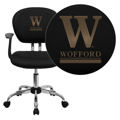 Wofford College Terrier Embroidered Black Mesh Task Chair with Arms and Chrome Base