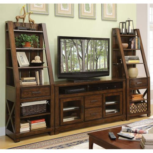 Windridge - Glass Door TV Console - Sagamore Burnished Ash Finish