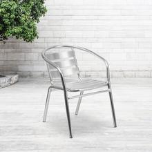 See Details - Heavy Duty Commercial Aluminum Indoor-Outdoor Restaurant Stack Chair with Triple Slat Back