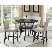 See Details - Biony Espresso Wood Counter Height Dining Set with Tan Fabric Nailhead Stools