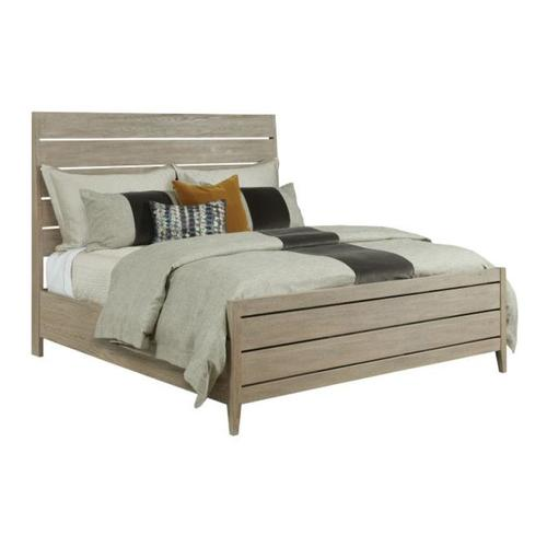 Incline Oak Queen Bed High Footboard - Complete