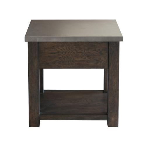 Metal Top Dark Oak Side Table