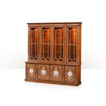 See Details - A pollard burl, mother of pearl inlaid library bookcase