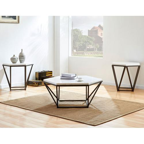 Gallery - Corvus White Marble Top Hexagon End Table