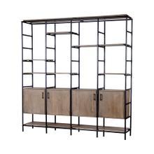 Darius 82L x 16.5W x 90H Medium Brown Wood and Metal Multi-Shelf Shelving Unit