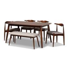 See Details - Baxton Studio Aeron Mid-Century Modern Light Gray Fabric Upholstered Walnut Finished Wood 6-Piece Dining Set