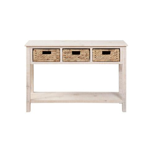 1-shelf and 3 Woven Baskets Console, Natural Whitewash