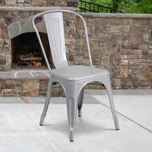 Commercial Grade Silver Metal Indoor-Outdoor Stackable Chair