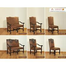 Chair w/Arms, Tapestry back, bonded leather seat