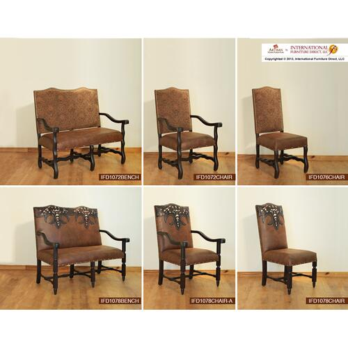 Chair w/Tapestry back, bonded leather seat