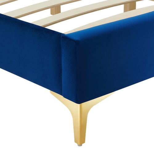 Sutton Queen Performance Velvet Bed Frame in Navy