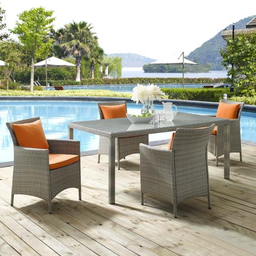 Conduit 5 Piece Outdoor Patio Wicker Rattan Dining Set in Light Gray Orange