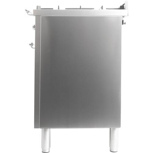 Nostalgie 40 Inch Dual Fuel Liquid Propane Freestanding Range in Stainless Steel with Chrome Trim