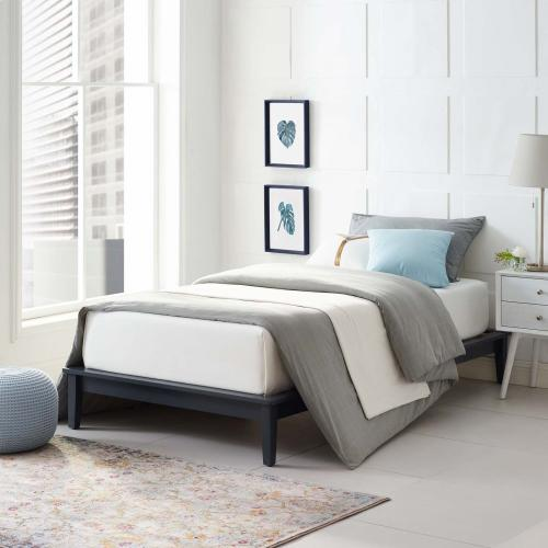 Lodge Twin Wood Platform Bed Frame in Gray