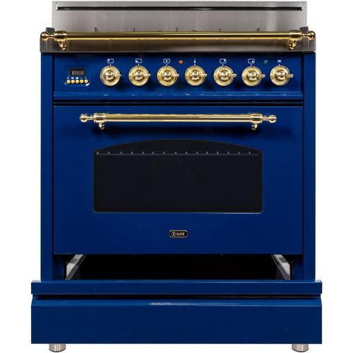 Nostalgie 30 Inch Gas Liquid Propane Freestanding Range in Blue with Brass Trim